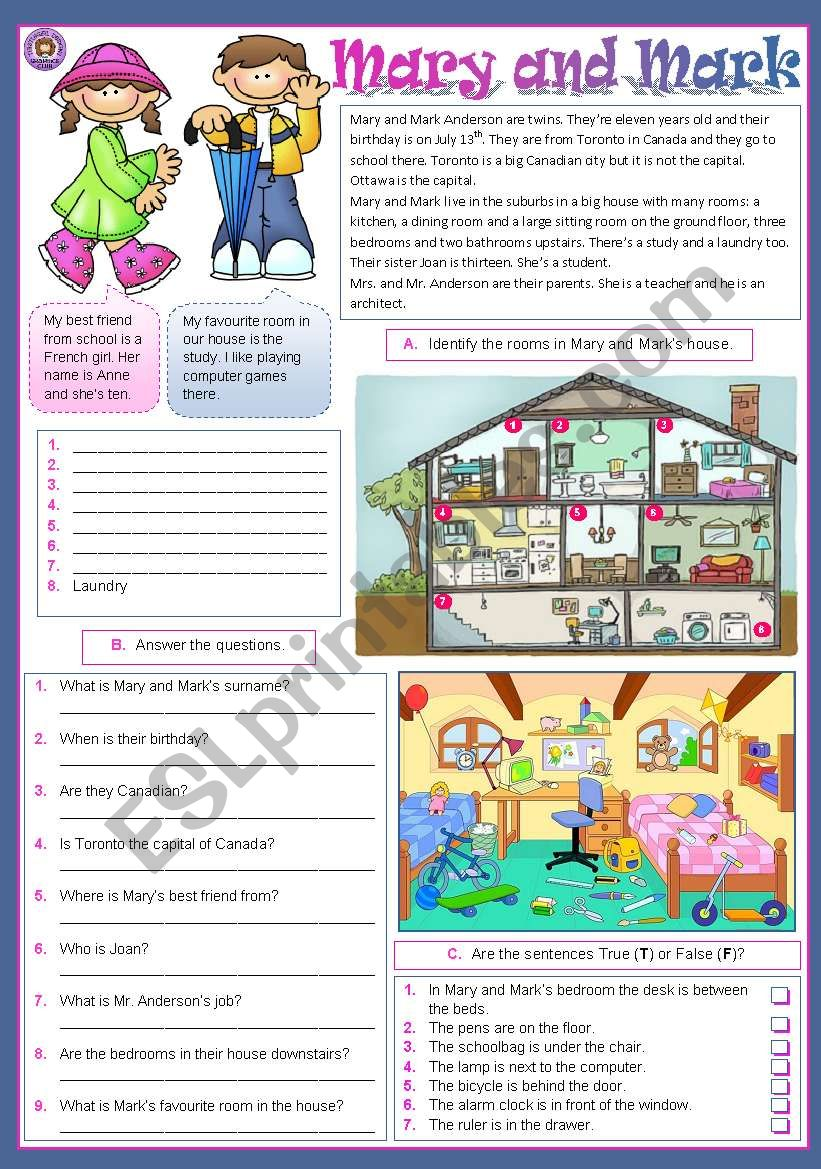 Mary and Mark worksheet