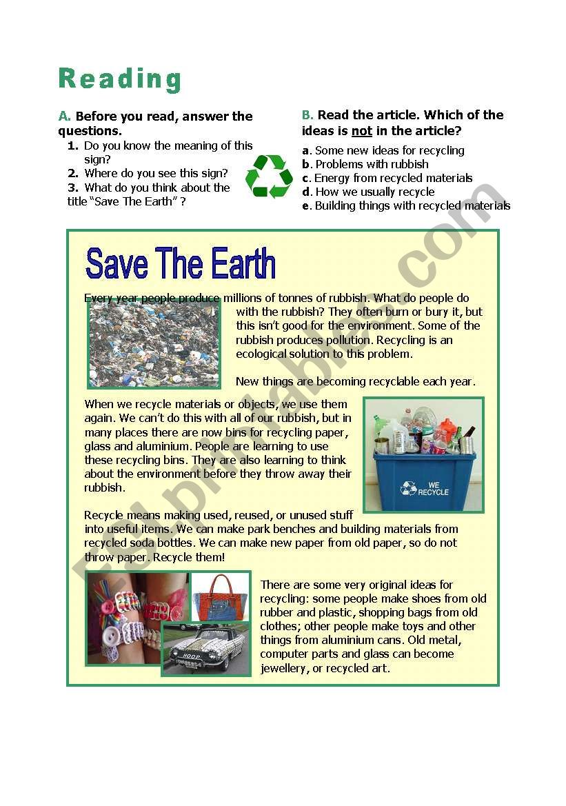 recycle save the earth esl worksheet by nalan. Black Bedroom Furniture Sets. Home Design Ideas