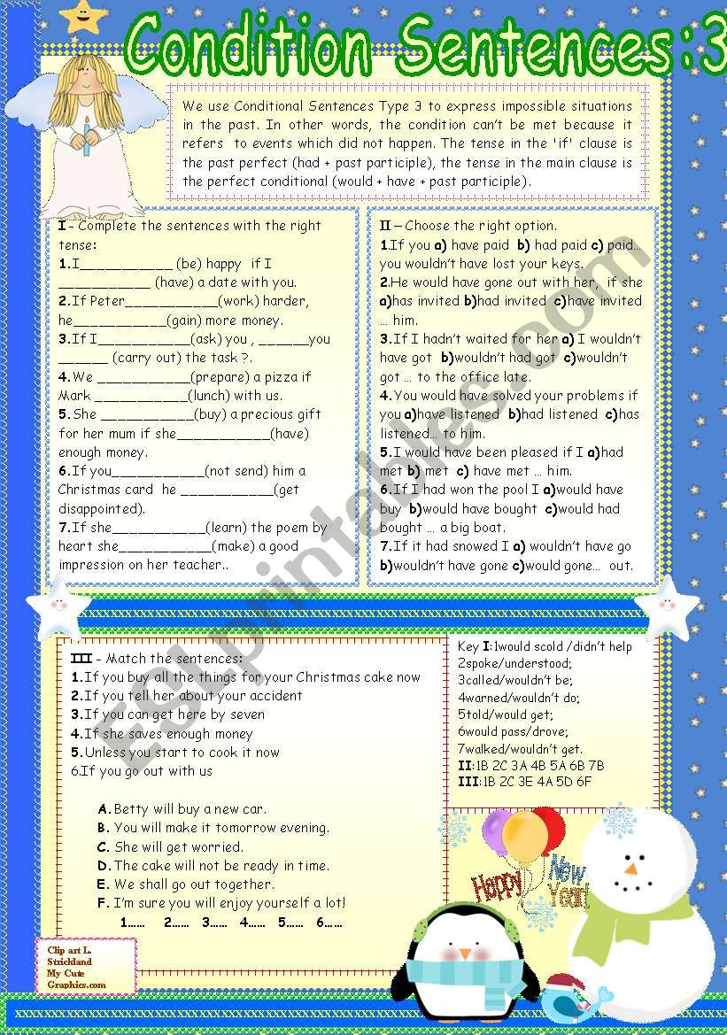 CONDITIONAL SENTENCES:TYPE 3 worksheet
