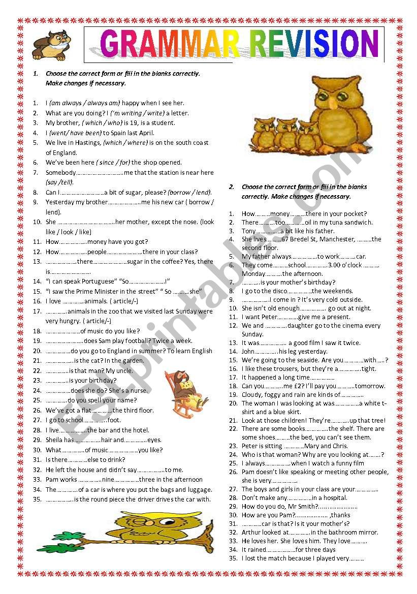 Grammar revision (B1) worksheet