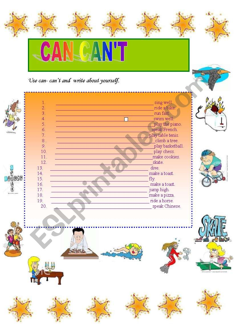 can can´t worksheet