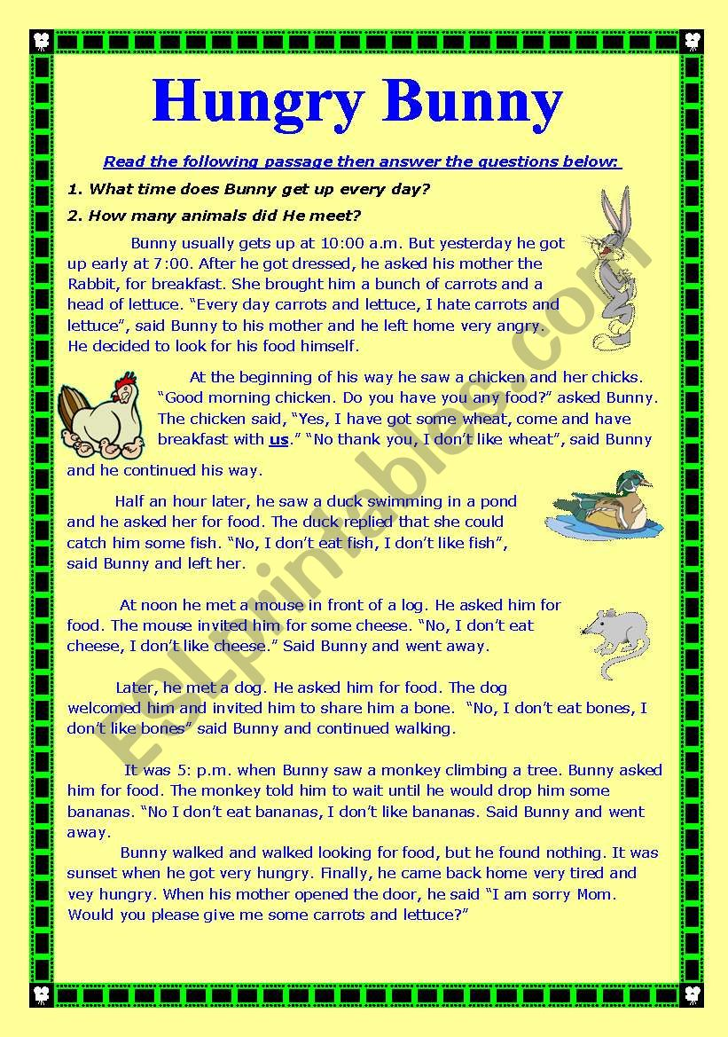Hungry Bunny worksheet