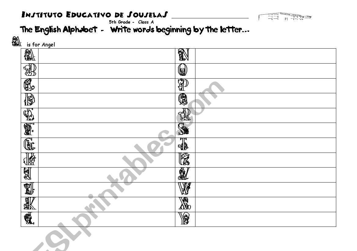 Alphabet Worksheet worksheet