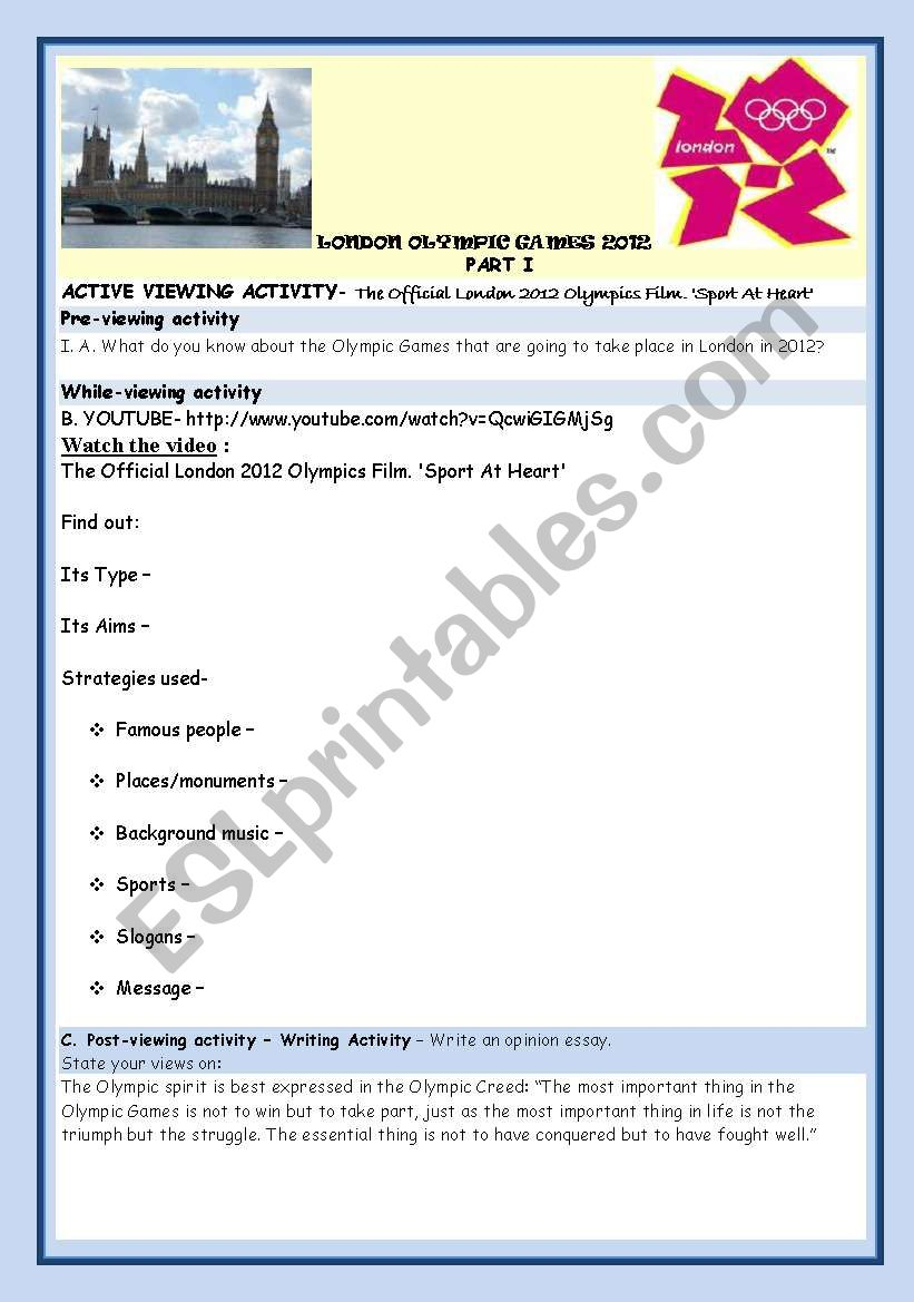 LONDON OLYMPIC GAMES 2012 worksheet