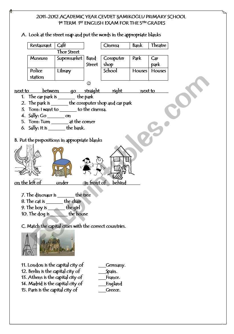 5th grade 1st term 1st exam worksheet