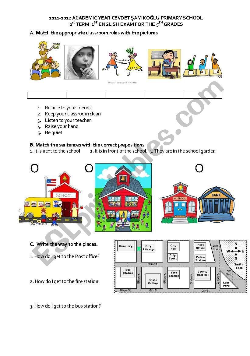 5th grade 1st term 2nd exam worksheet