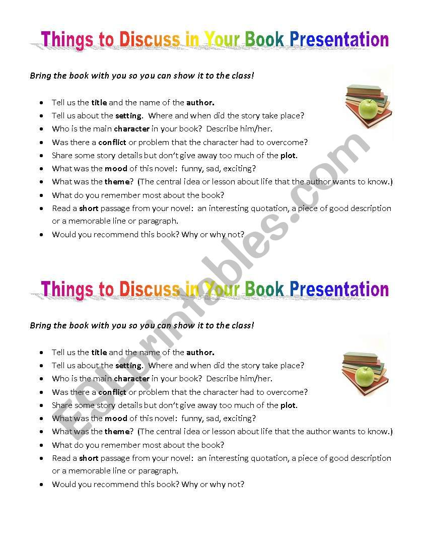 Book Report Presentation worksheet