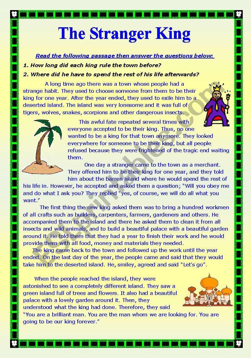 The Stranger King worksheet