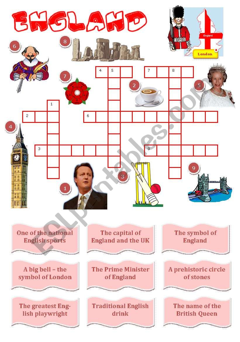England-a crossword for young learners