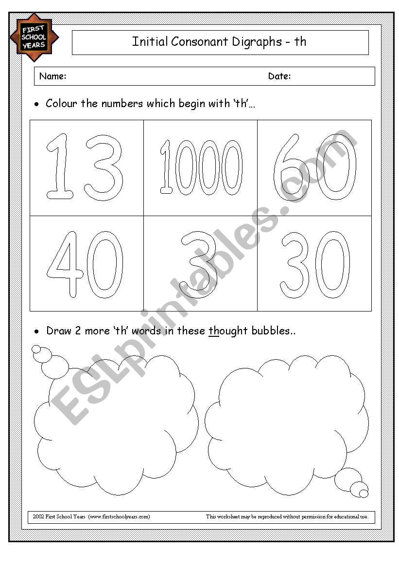 English Worksheets Initial Th Sound