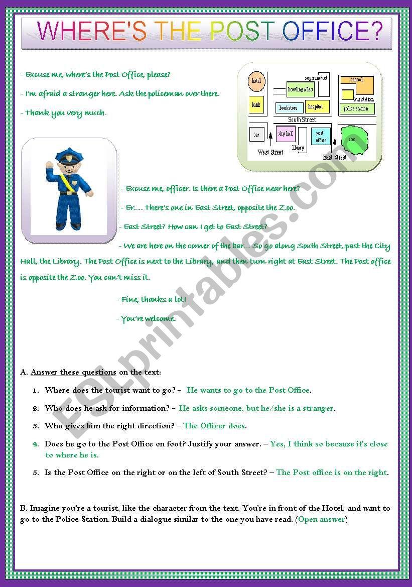 WHERE´S THE POST OFFICE?  worksheet