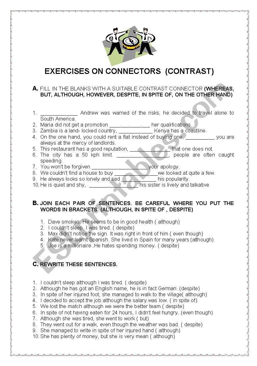 Connectors of contrast worksheet
