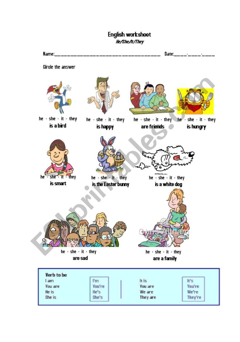He She I Worksheet – Pdf handouts to print, printable exercises.