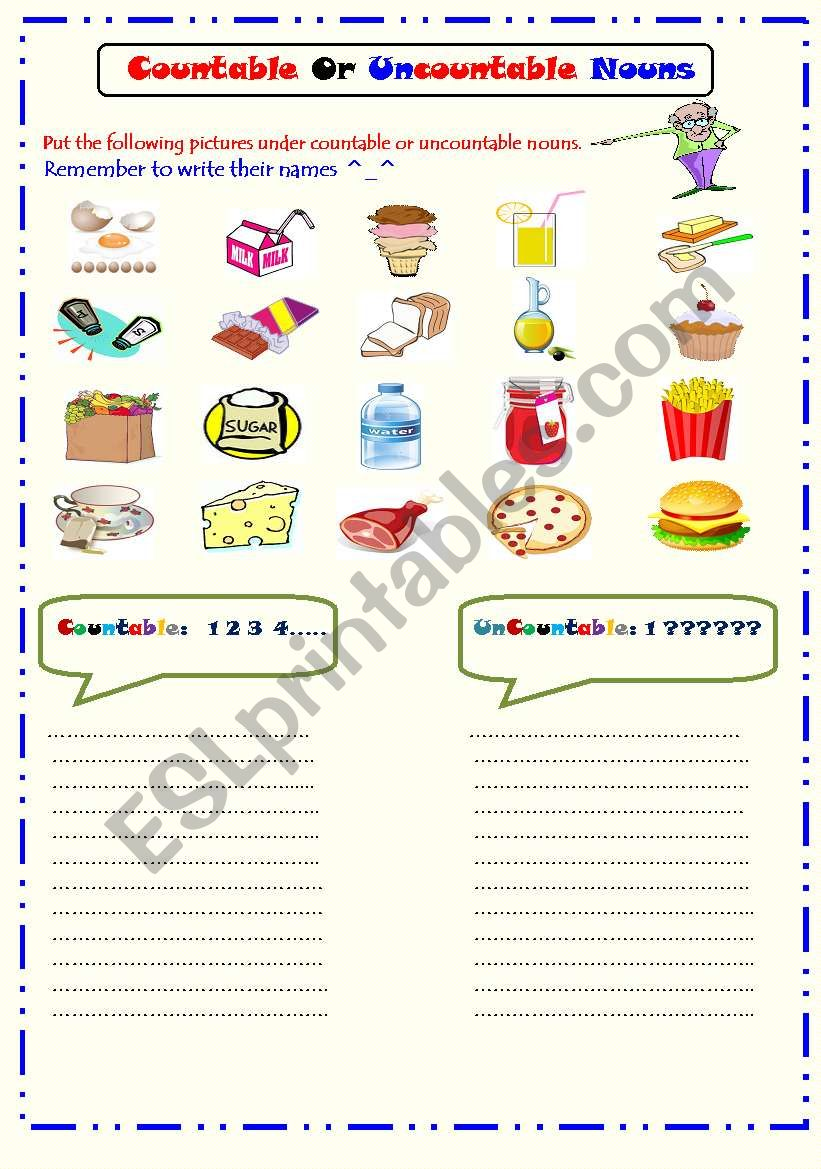 Countable and Uncountable Nouns - ESL worksheet by Ms.Sara.q8