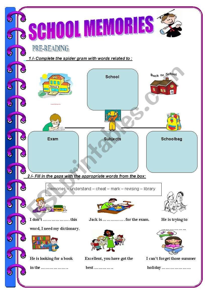 English worksheets: SCHOOL MEMORIES