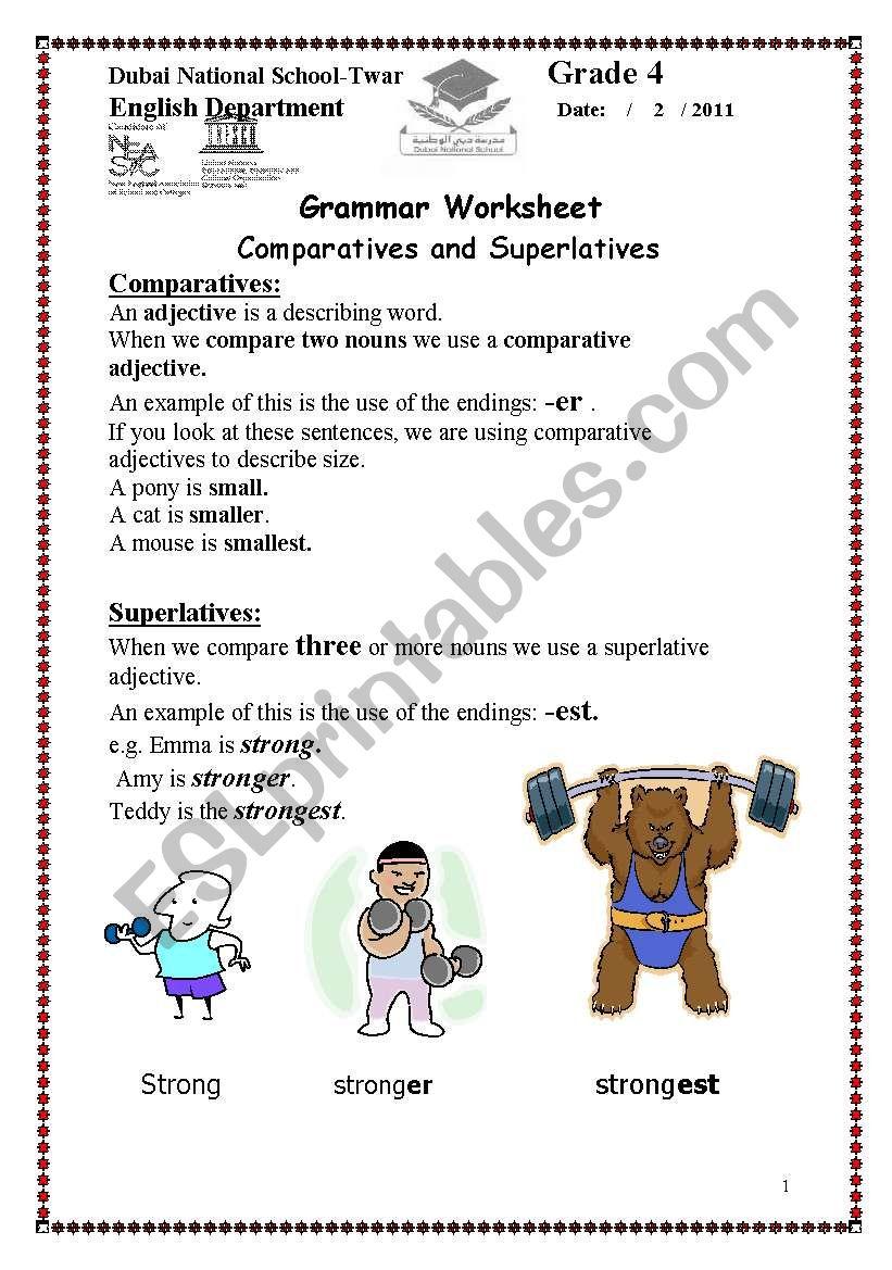 comparative and superlative worksheet   ESL worksheet by wasanaldurah