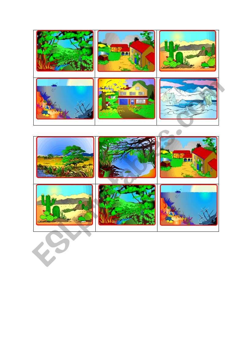 Animal Habitats bingo charts (3 out of 3) - with key