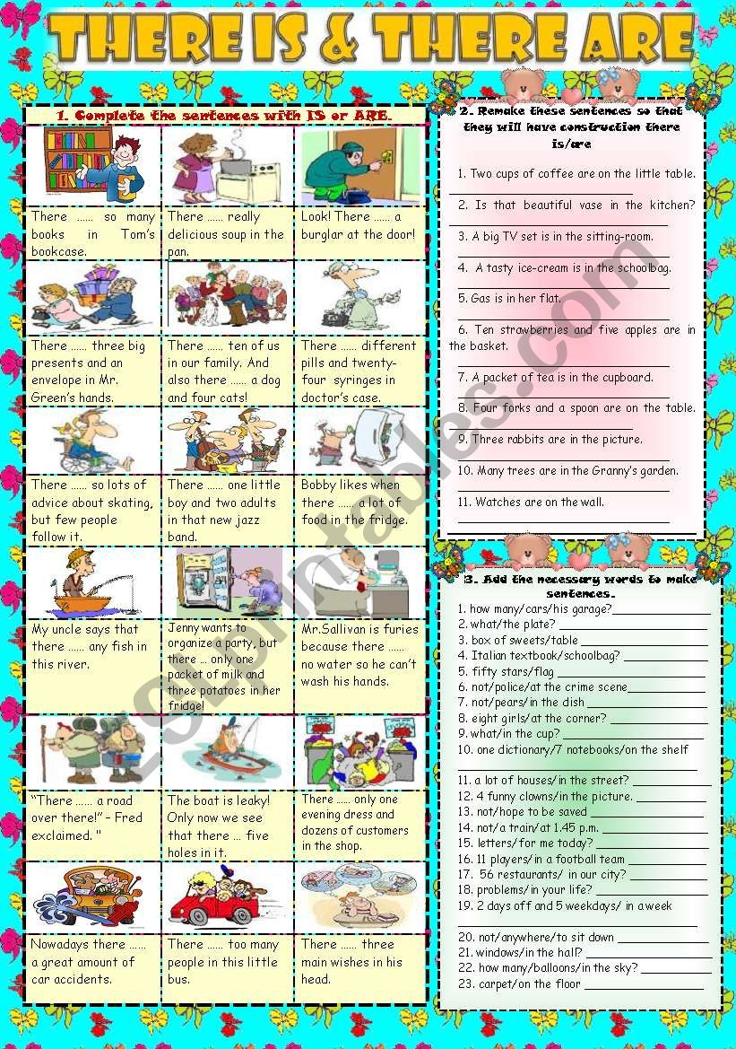 THERE IS & THERE ARE***Part 1 worksheet