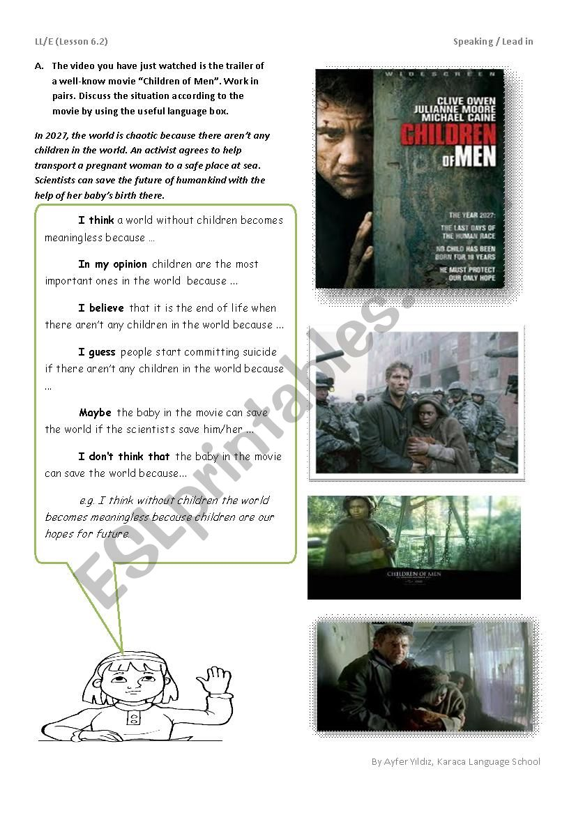 English worksheets: children of men / Speaking