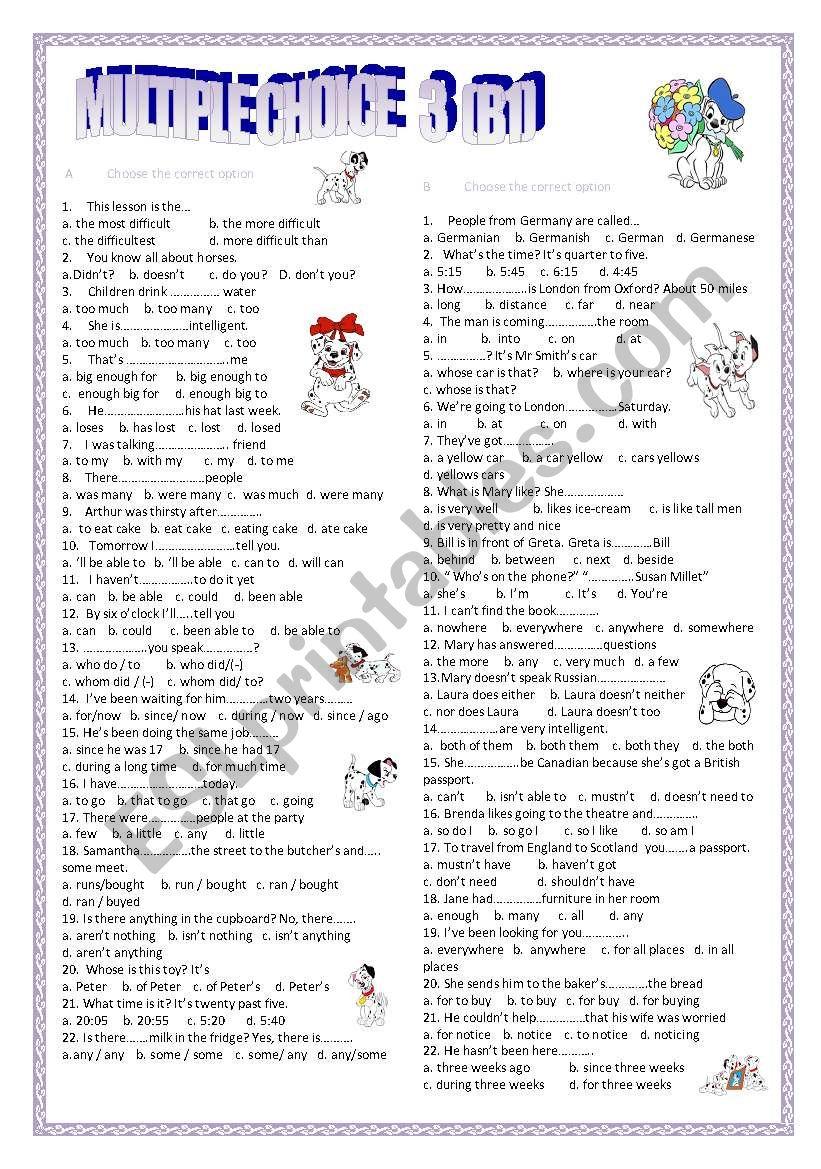 multiple choice 3 (B1) worksheet