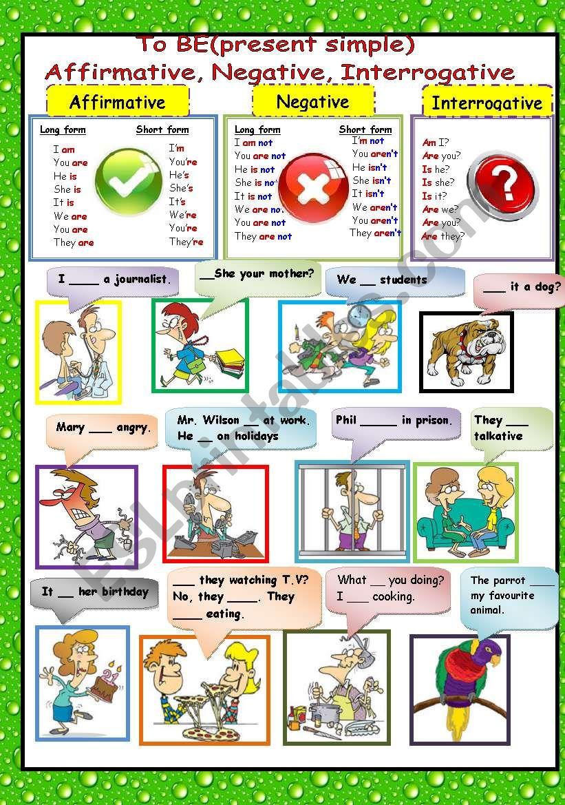 TO BE (present simple) worksheet