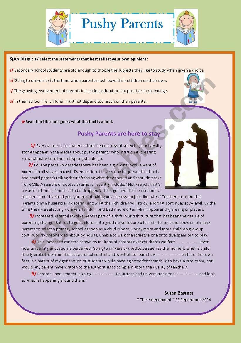 Pushy Parents  worksheet