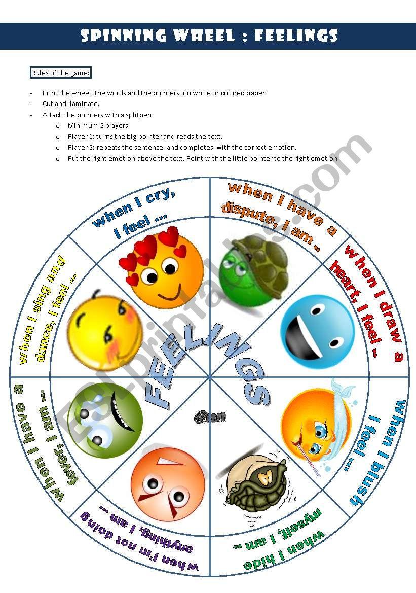 Spinning wheel: FEELINGS worksheet