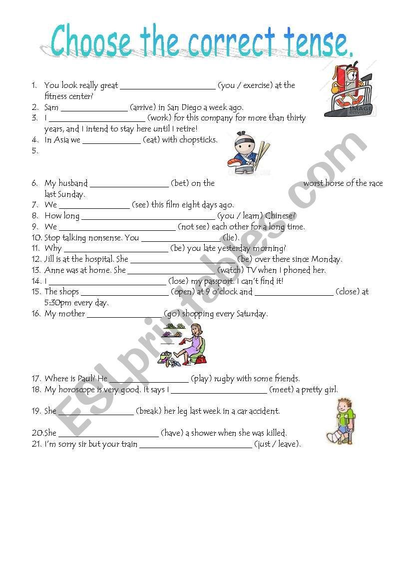 Choose the correct tense worksheet