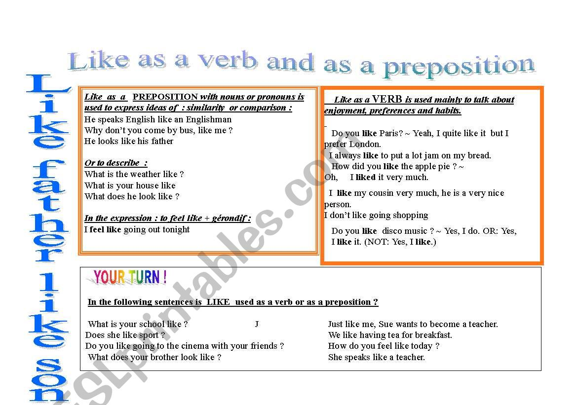 Preposition In Learn In Marathi All Complate: Like As A Preposition And Like As A Verb