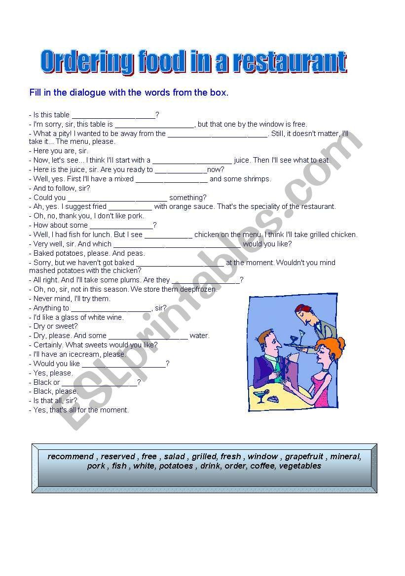 ordering food in a restaurant worksheet
