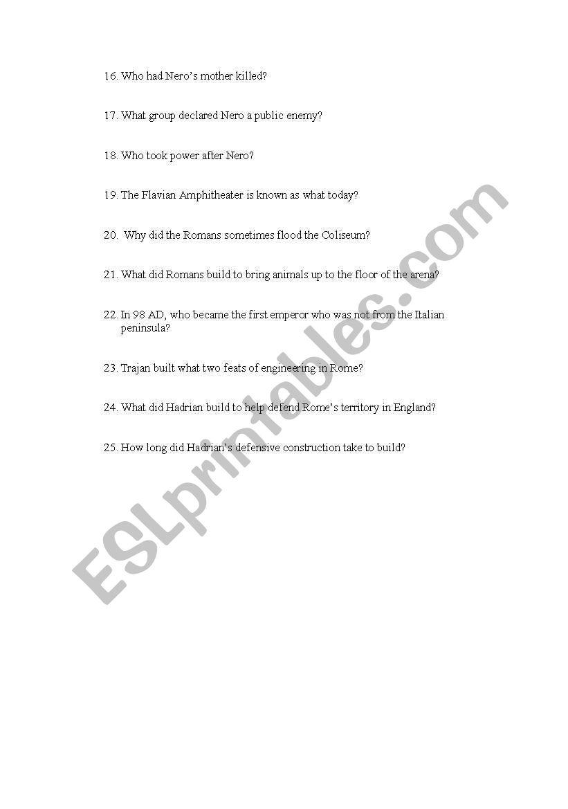 worksheet Engineering An Empire Worksheet english worksheets engineering an empire rome video questions