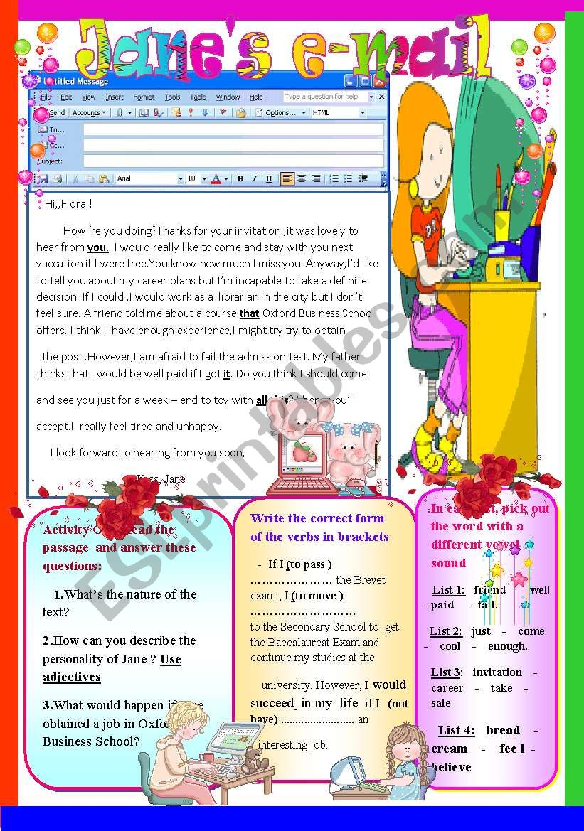 Jane´s e-mail worksheet