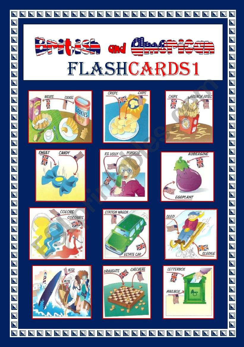 ENGLISH AND AMERICAN FLASHCARDS 1
