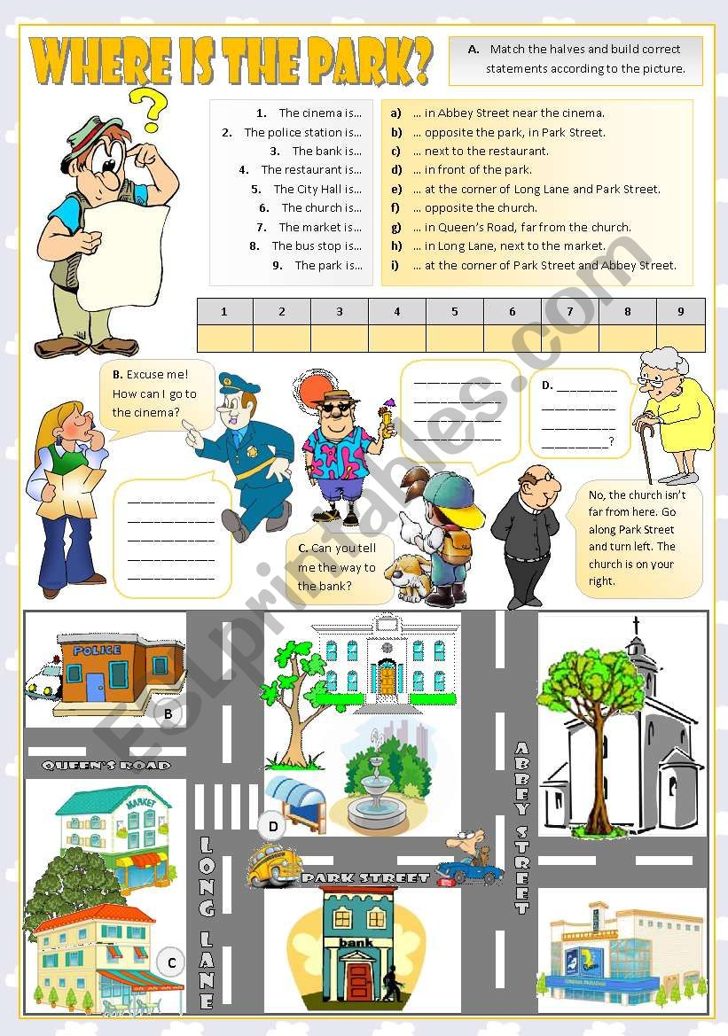 Where is the park? worksheet