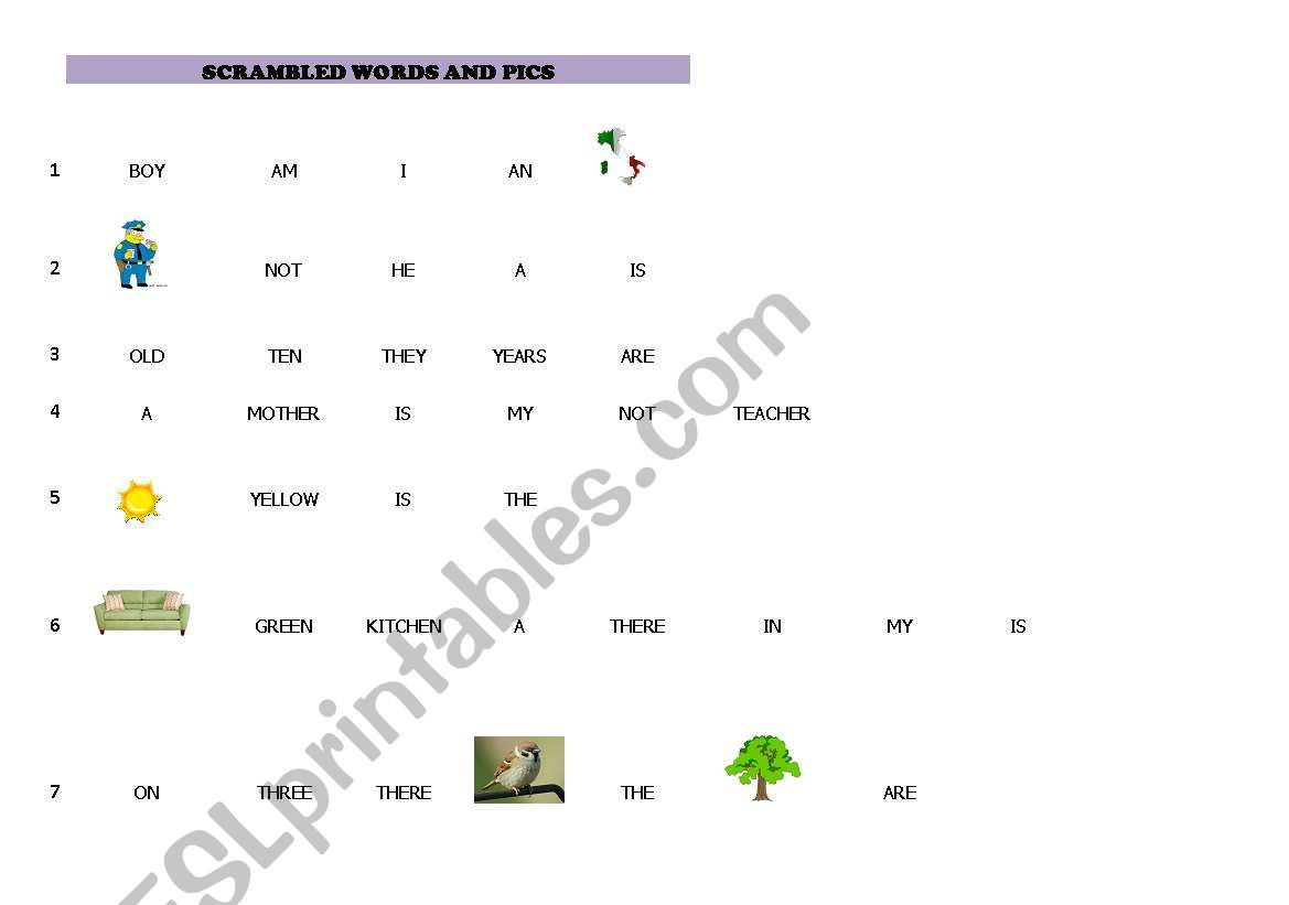 SCRAMBLED WORDS AND PICTURES worksheet