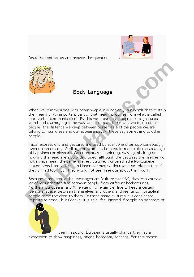 Body Language Reading plus questions