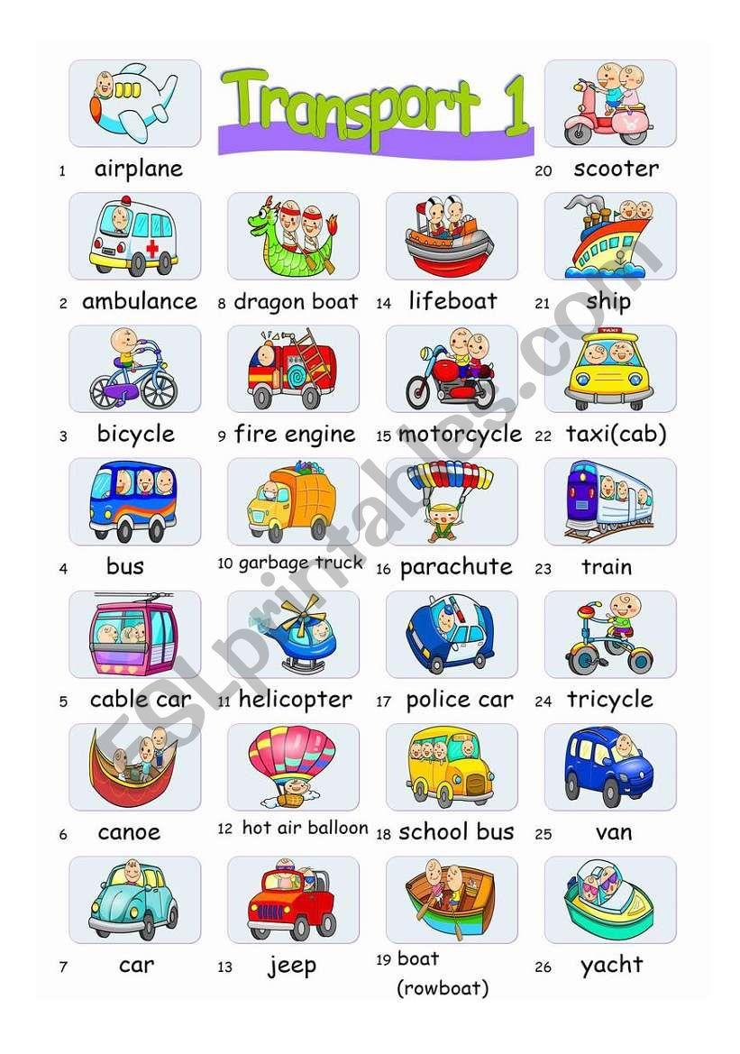 Pictionary***Transports 1 worksheet