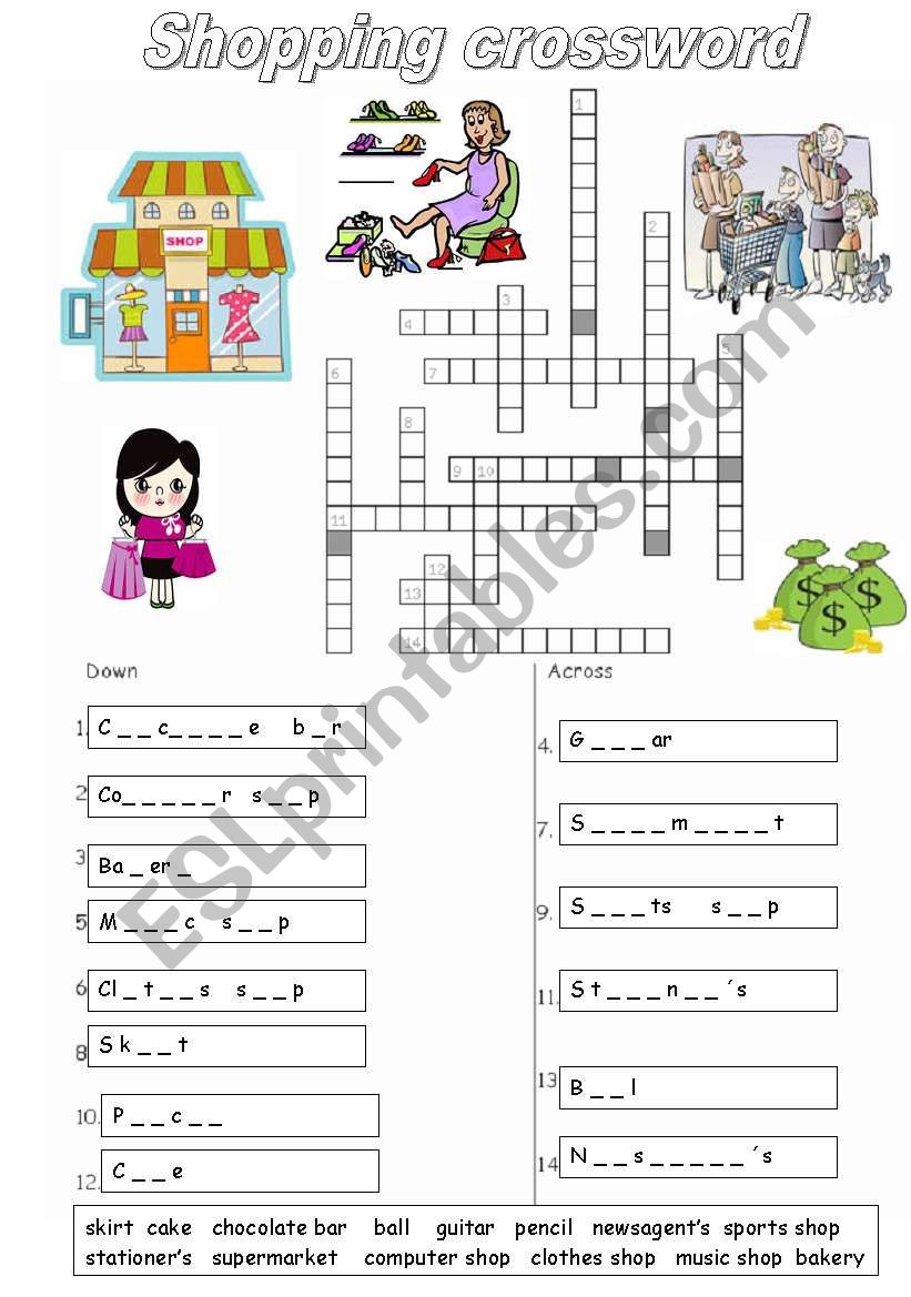 types of shops and items worksheet