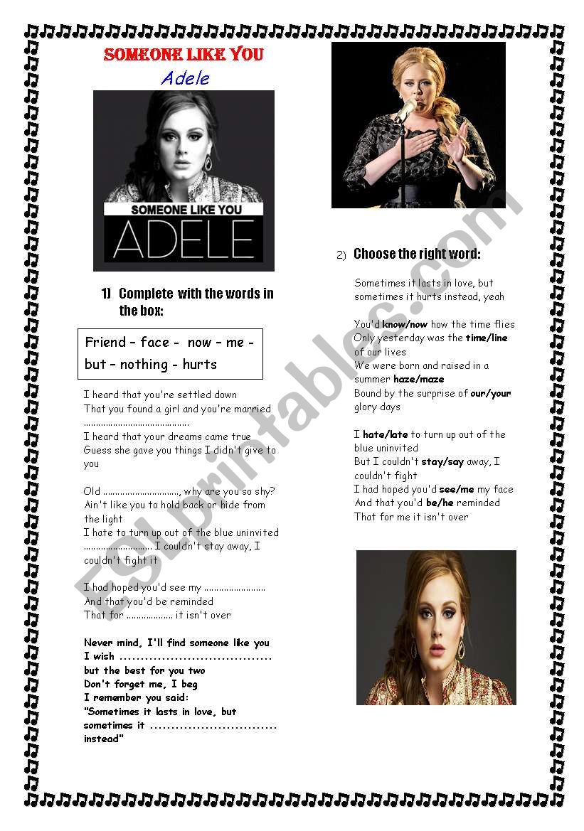 ADELE - SOMEONE LIKE YOU worksheet