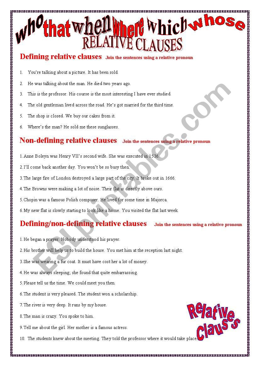 RELATIVE CLAUSES EXERCISES worksheet