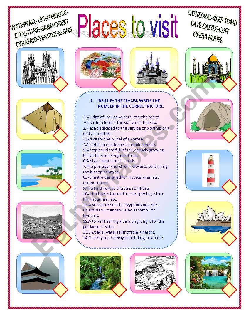 Places to visit worksheet