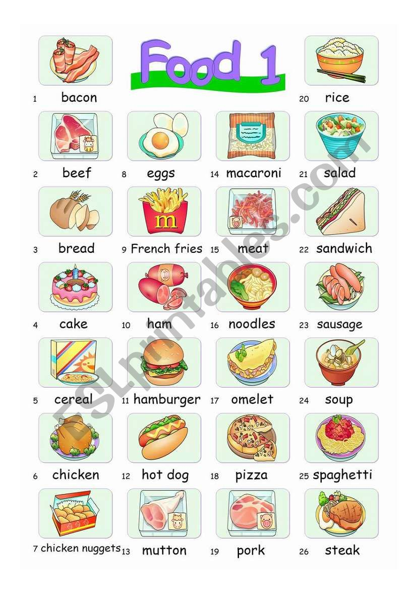 Pictionary***Food1 worksheet