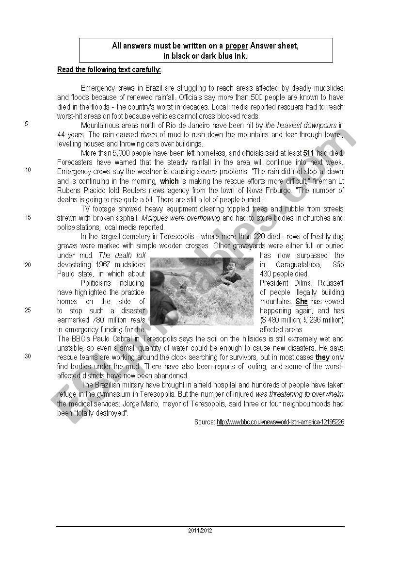 - Environment - Reading Comprehension Test - ESL Worksheet By