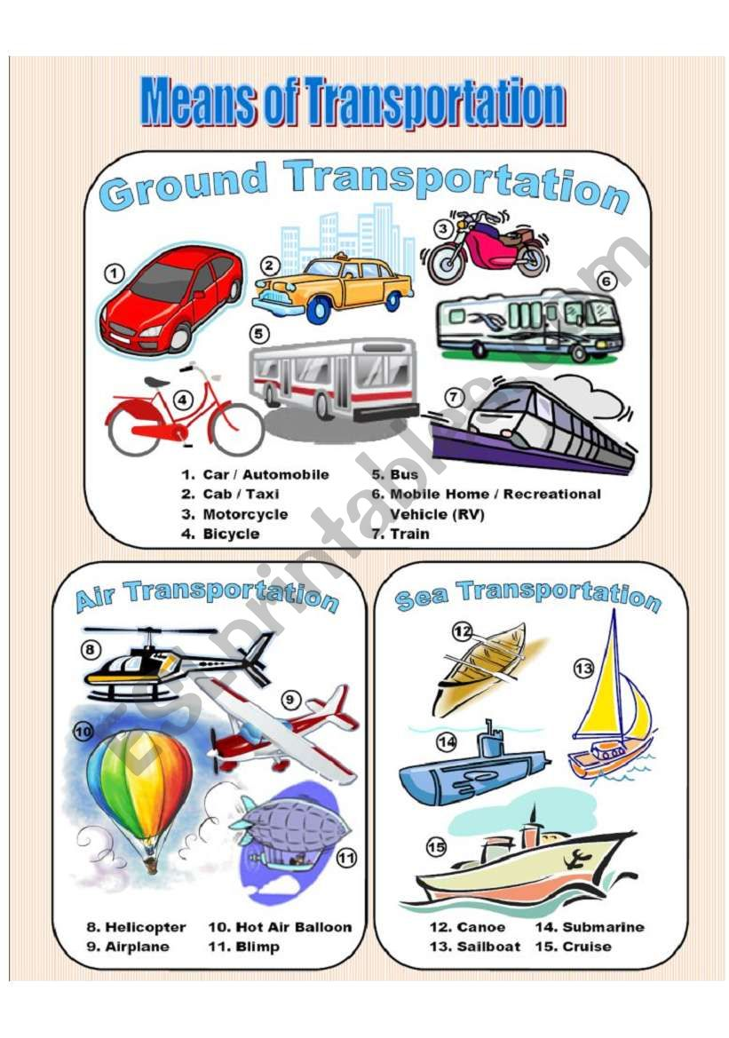 Means of Transportation - Picture Dictionary