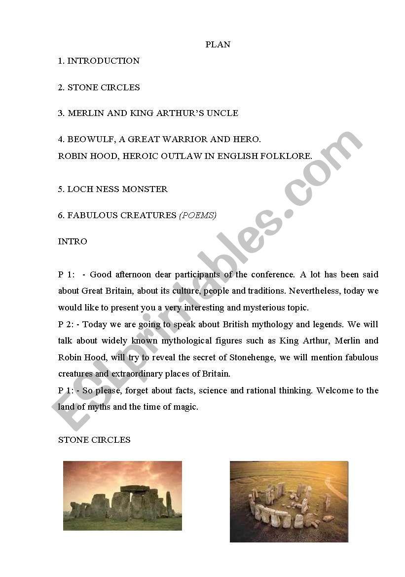 British Myths And Legends Esl Worksheet By Liov4uk