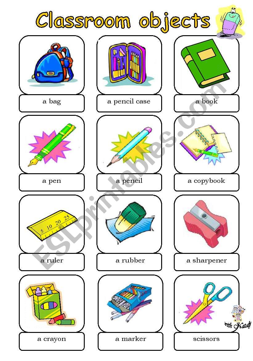 Classroom objects - ESL worksheet by whitechocolate