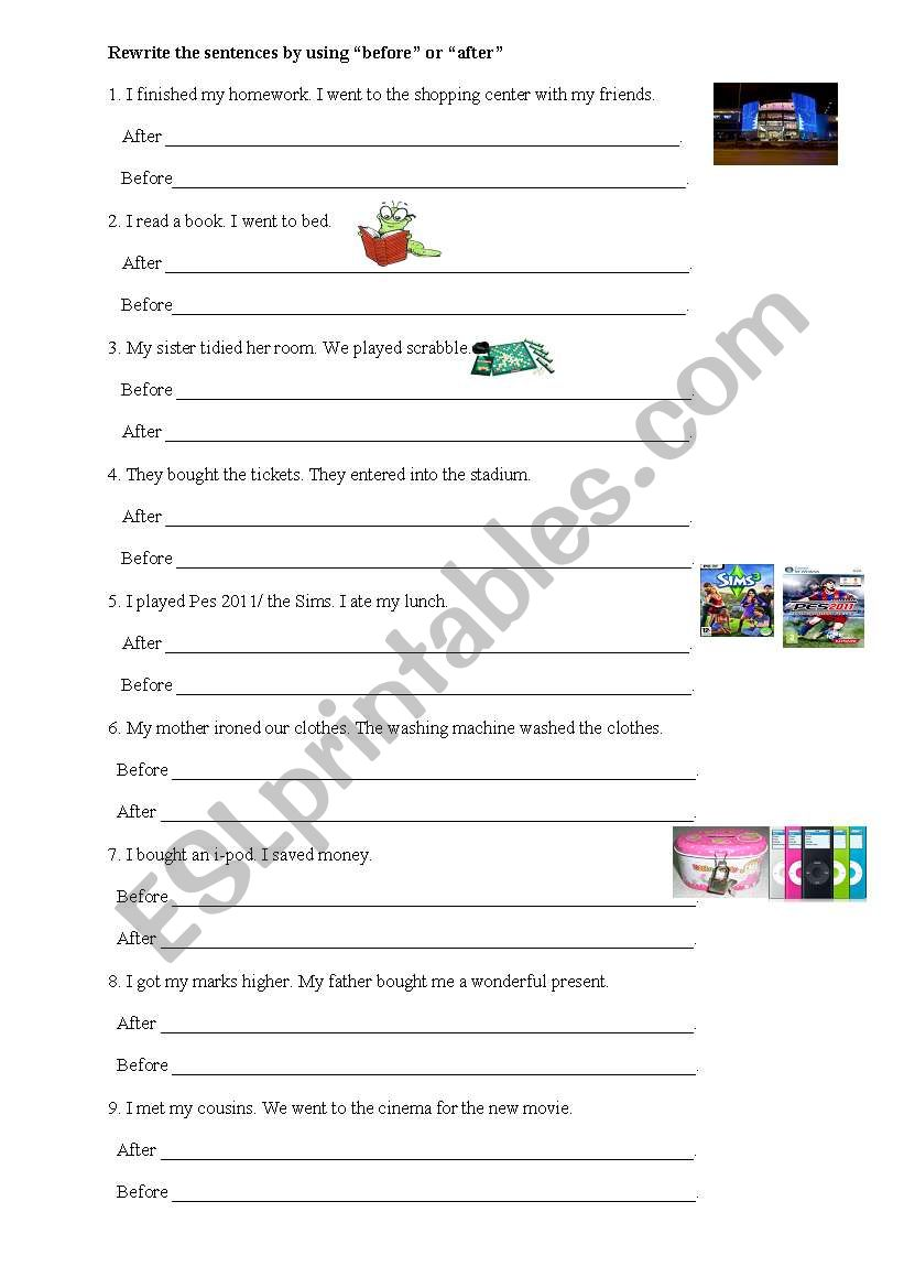 time adverbs (before-after) worksheet
