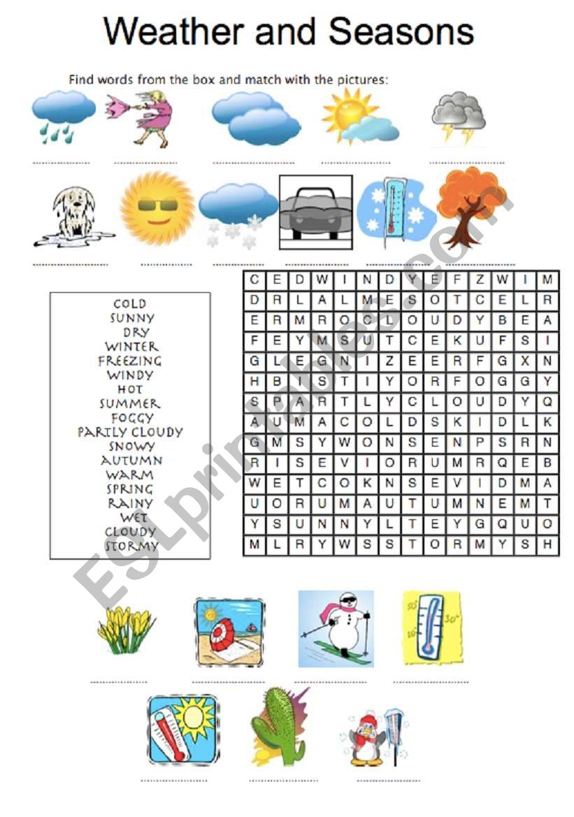 WEATHER AND SEASONS - wordsearch