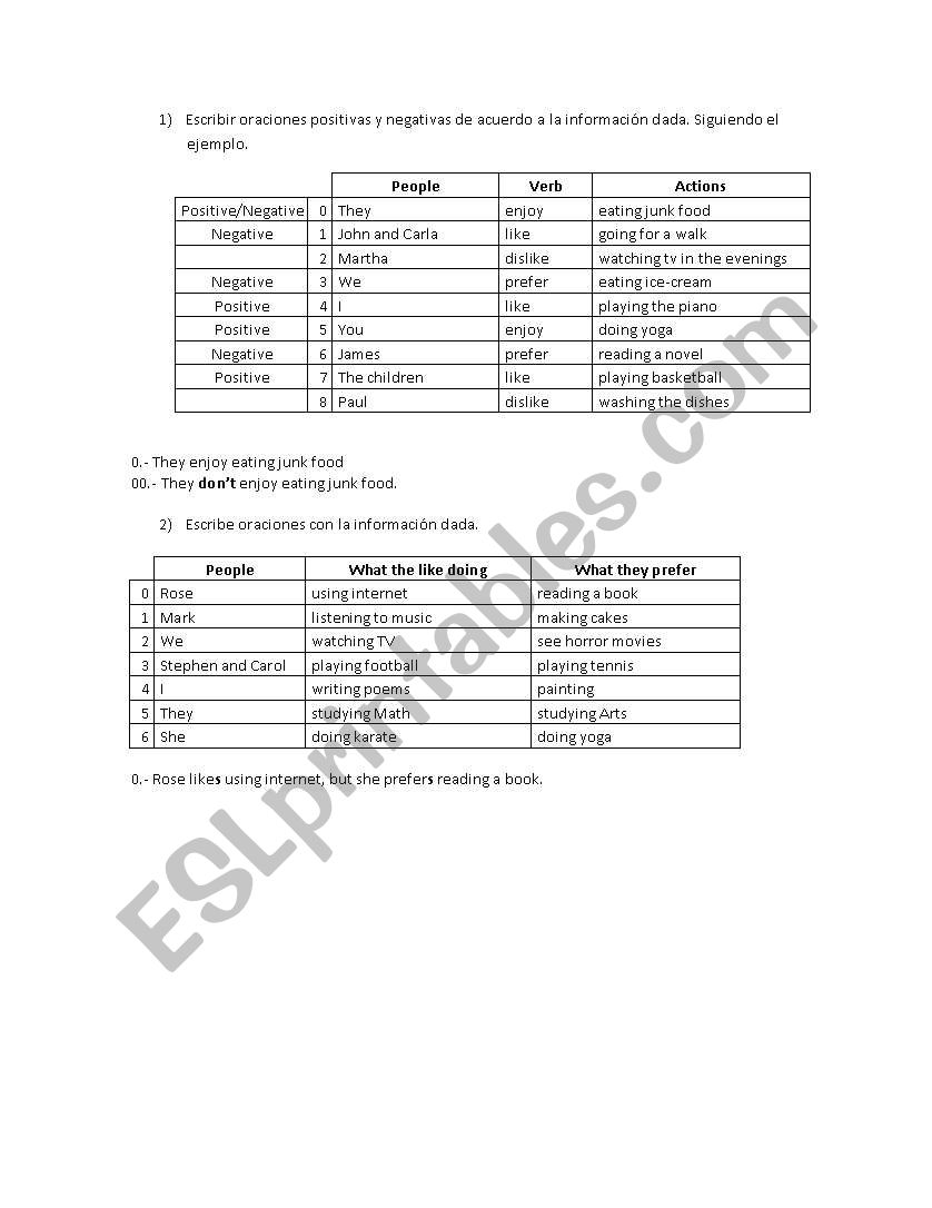 Like/Prefer/Enjoy worksheet