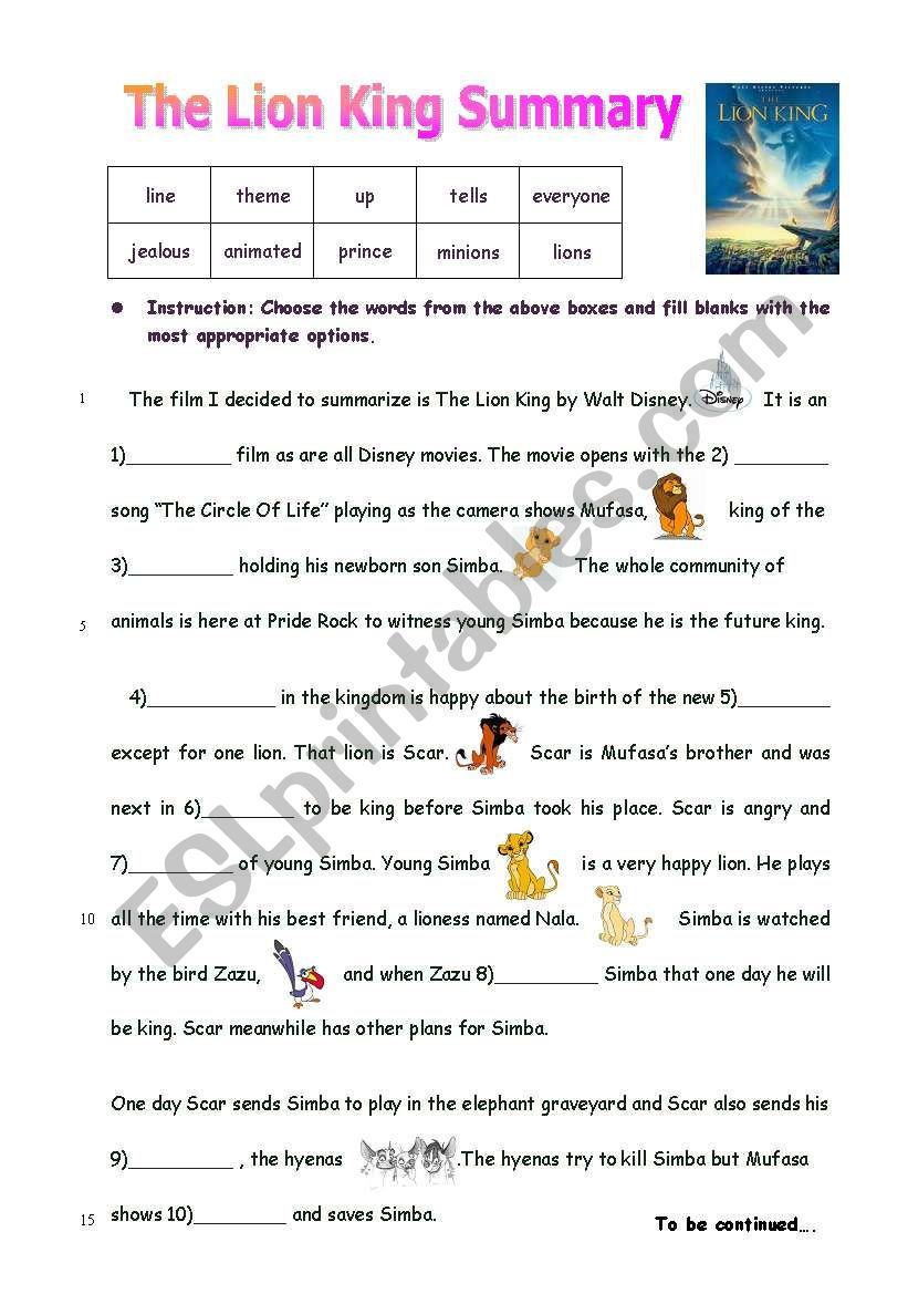 The lion King- Vocab and creative writing
